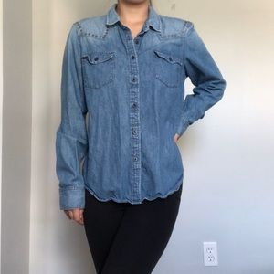 GAP studded denim button up long sleeve size small